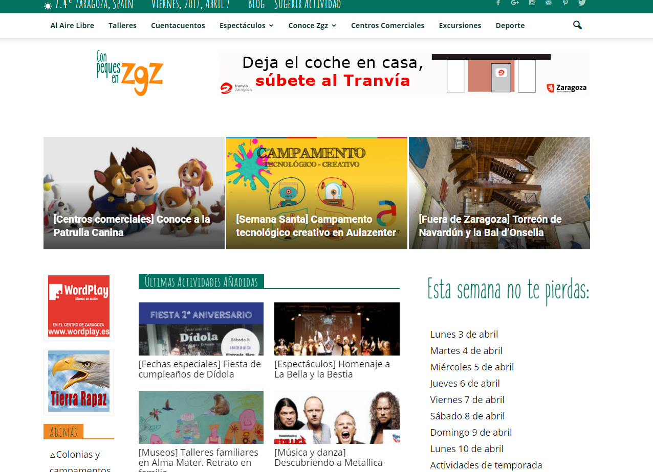 Agenda infantil Con peques en Zaragoza